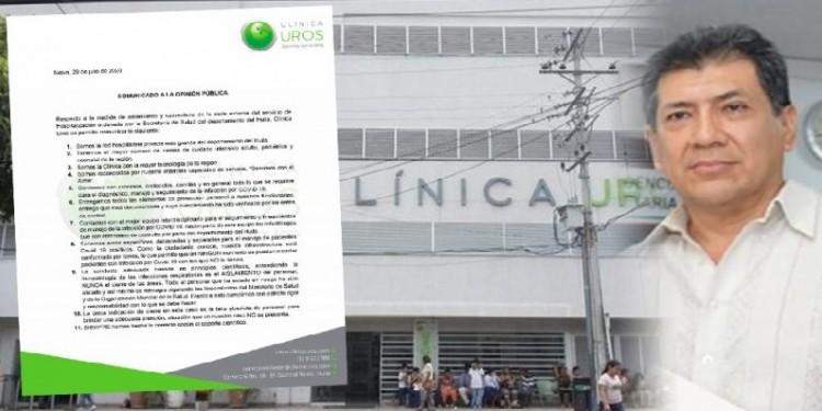 Clínica Uros arremete contra Secretaría de Salud del Huila