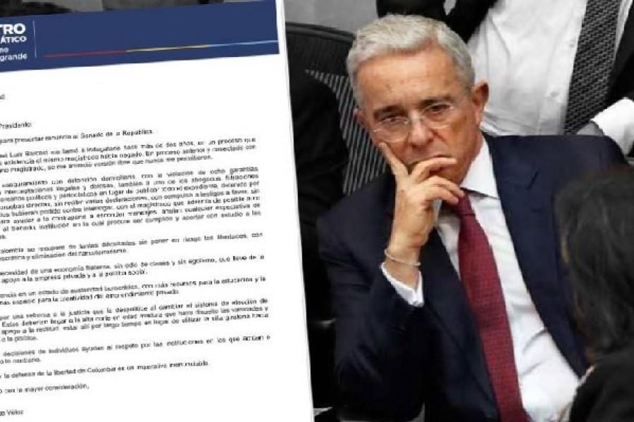 Álvaro Uribe Vélez renuncia a su curul en el Senado